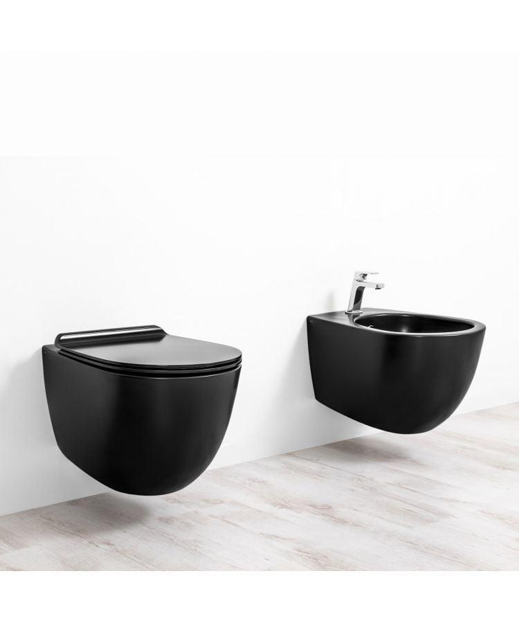 Set Bide+ Vas WC Suspendat Rimless Vignoni SIMAS + Capac Negru Mat