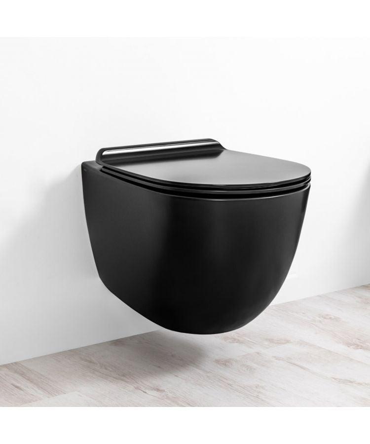 Vas WC Suspendat Rimless colorat Vignoni SIMAS + Capac 56 cm in negru mat