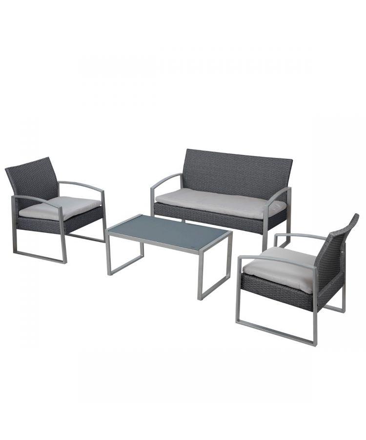 Set Relax Madeira Structura Otel Finisaj Antracit 2 scaune 1 masa 1 capapea