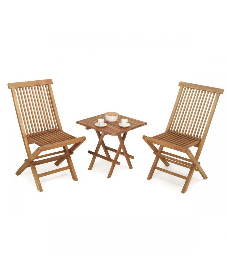 Set de grădină cu Doua Scaune masă de cafea din lemn de tec de 50 cm structură rabatabilă