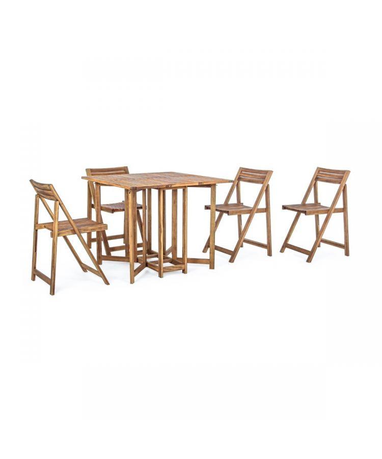 Set Masa de Grădină din lemn de Salcam pliabila cu 4 Scaune