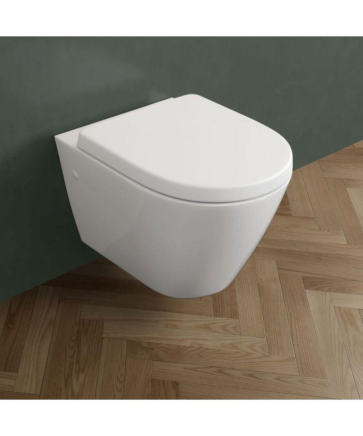 Vas WC Suspendat Rimless Din Ceramica Alba Cu Capac
