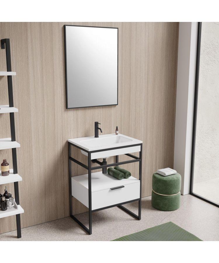 Set Complet Mobilier Baie Sierra Finisaj Alb/Negru 60 cm