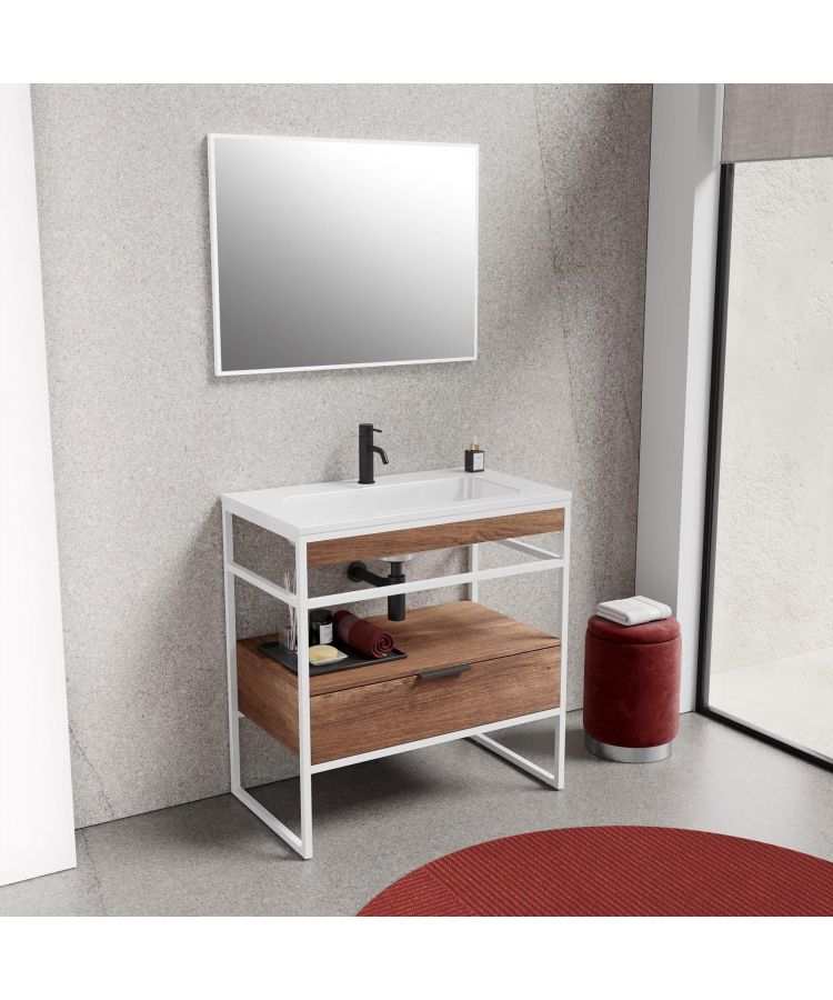 Set Complet Mobilier Baie Sierra Finisaj Nuc 80 cm