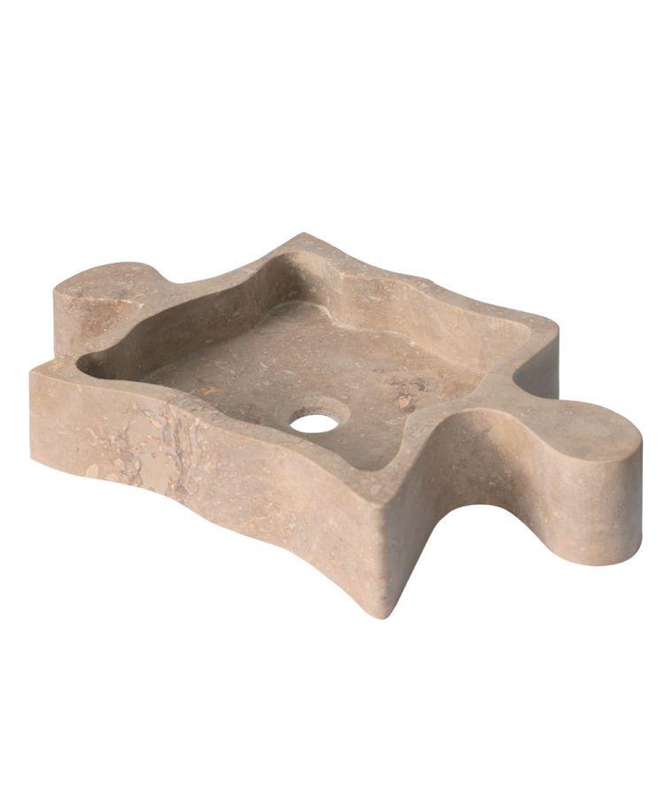 Lavoar Piatra Puzzle Travertino Noce 69x44,5 cm