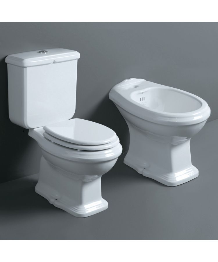 Set sanitare Bide + WC monobloc Simas Arcade cu capac alb lucios