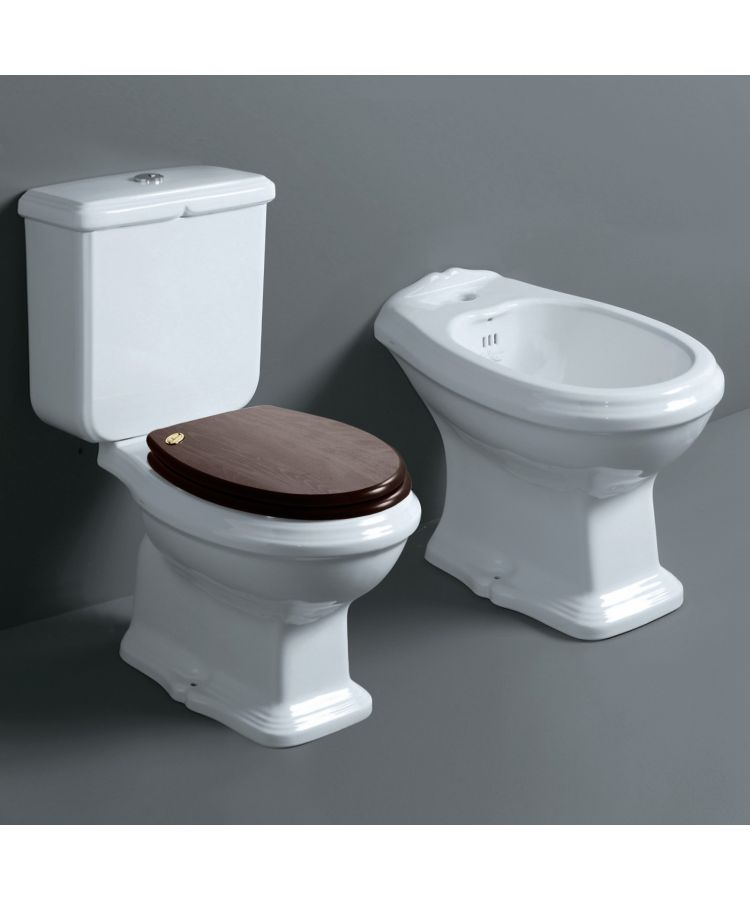Set WC + Bide Monobloc Simas Arcade cu capac din lemn de nuc