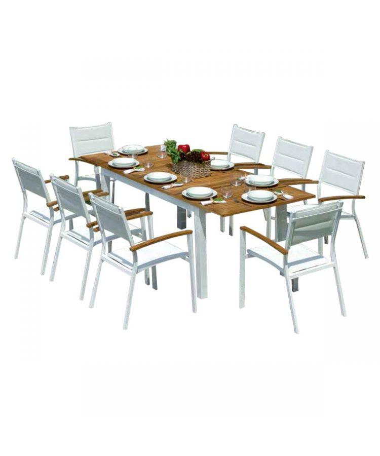 Set Gradina din Aluminiu+Tec cu masă extensibilă de 150 cm și 8 scaune
