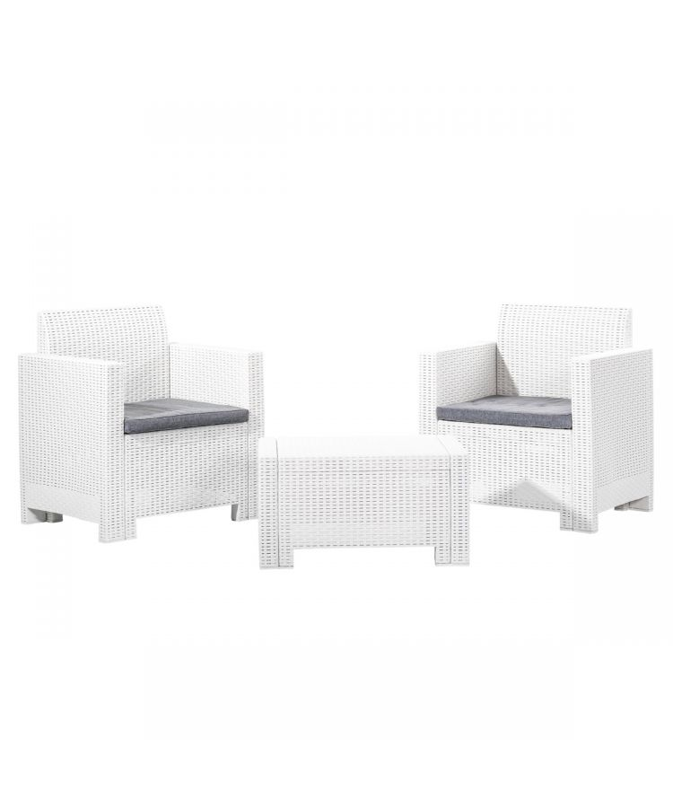 Set Relax Outdoor Jeff White 2 Canapele+Masuta Cafea