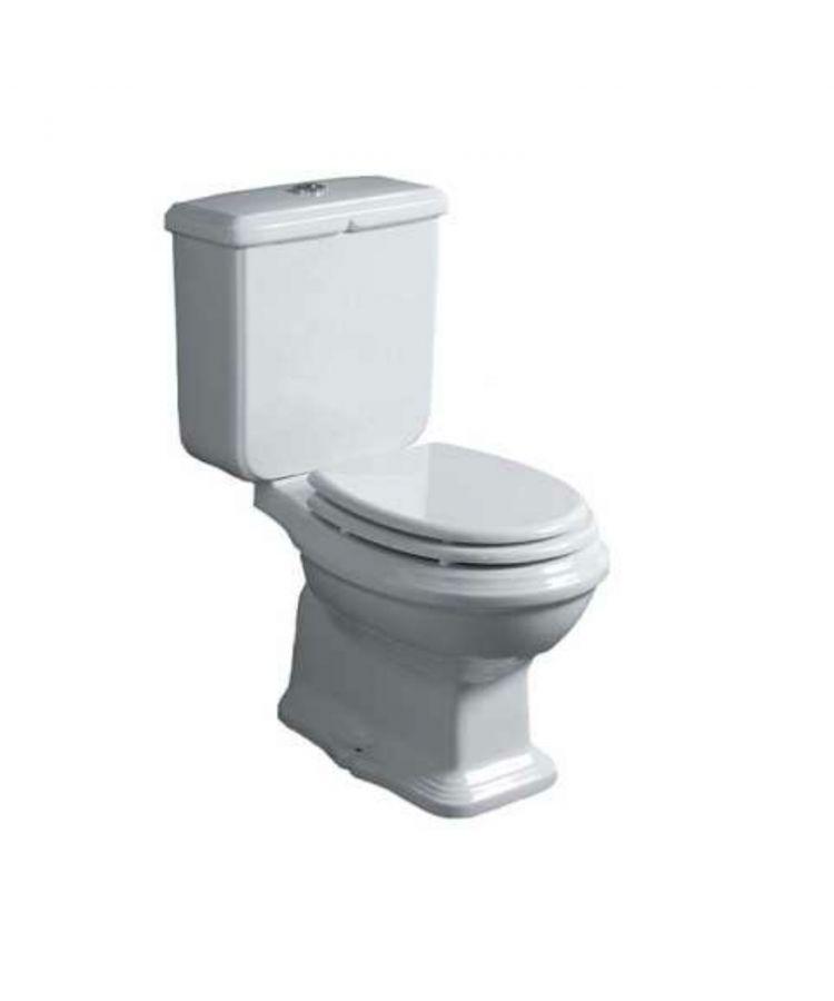 Toaleta WC monobloc Simas Arcade cu capac de toaleta alb lucios, cu scurgere de podea