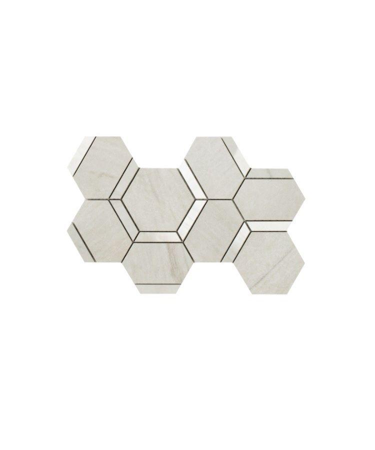 Mozaic pe plasa Esagona Decoro Mix Calacatta Mont Blanc 20x34 cm