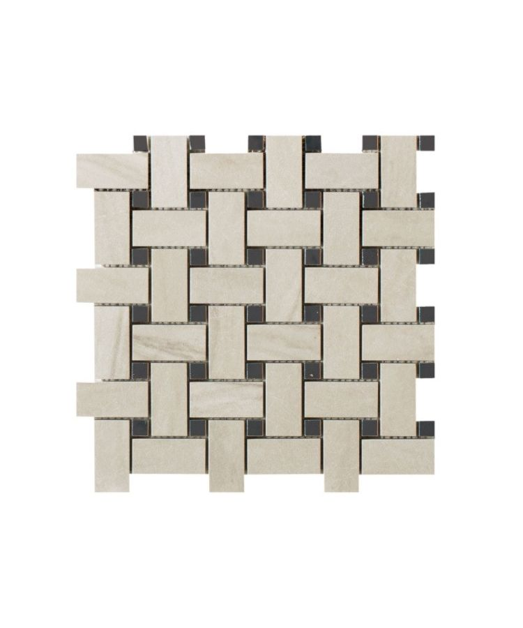 Mozaic pe plasa Basketwave Calacatta Mont Blanc 30x30 cm