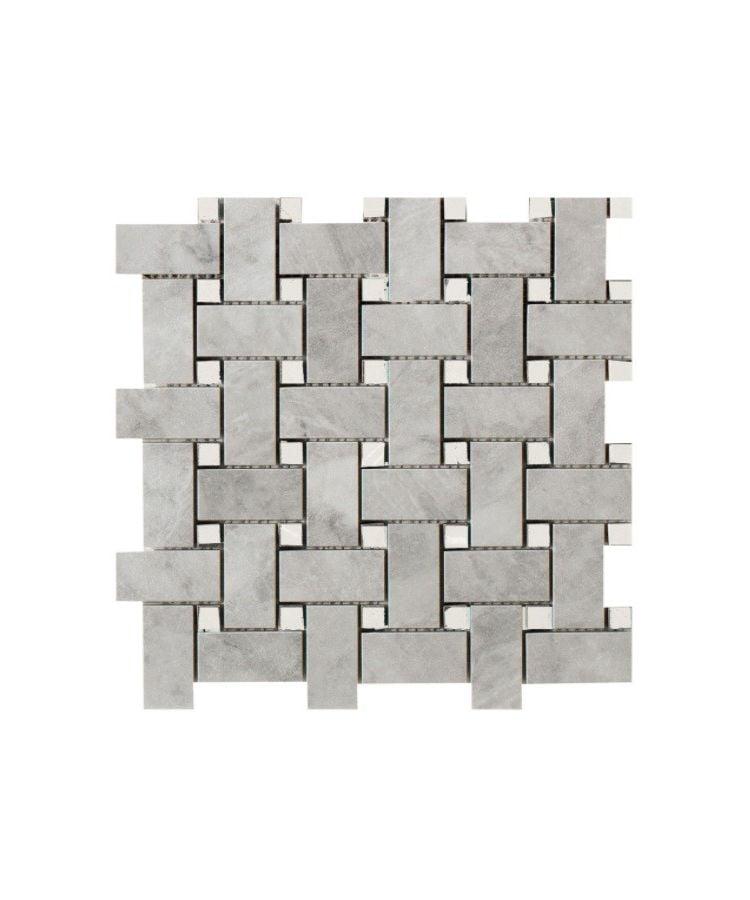 Mozaic pe plasa Basketwave Grigio Versilia 30x30 cm
