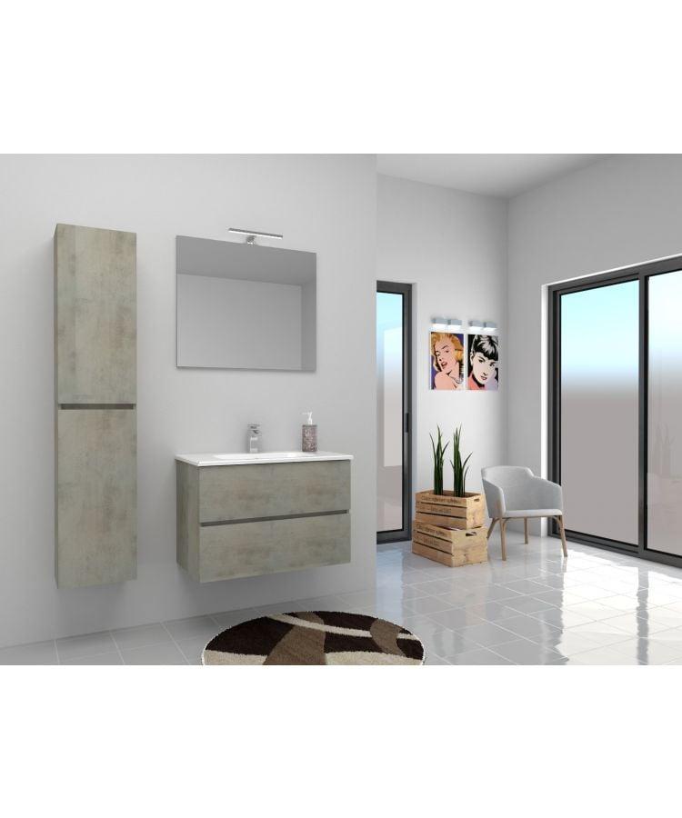 Set Mobilier Suspendat Baie Idea Stella Harmony 60 cm Gri Ciment Cu Oglinda+Aplica