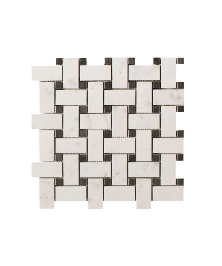 Mozaic pe plasa Basketwave Helsinki White 30x30 cm