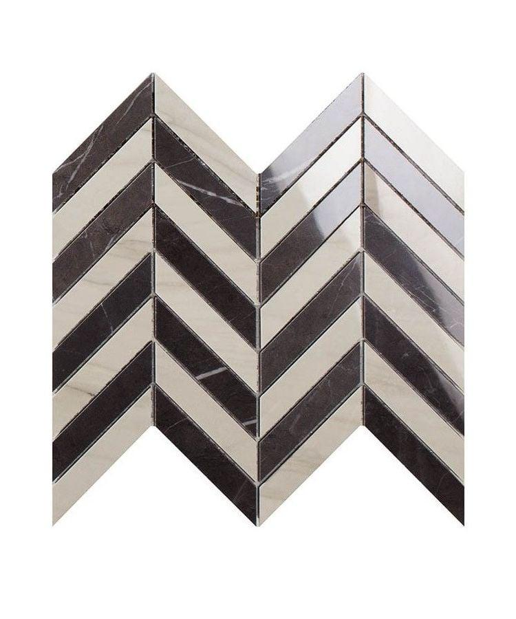 Mozaic pe plasa Mosaico Chevron Calacatta Mont Blanc Pietra Grey 26x30 cm