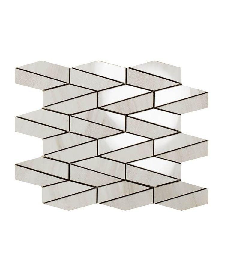 Mozaic pe plasa Mosaico Esagona Allungato Mix Helsinki White 26x30 cm