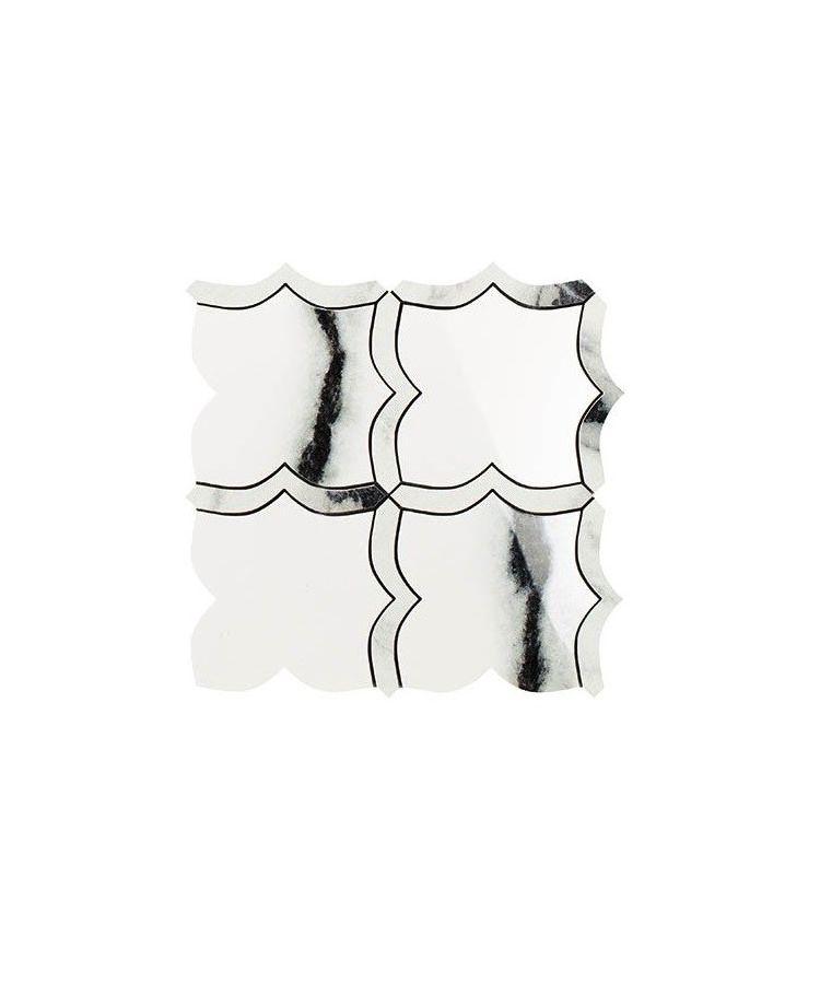 Mozaic pe plasa Mosaico Arabesque Mix Panda White 30x30 cm