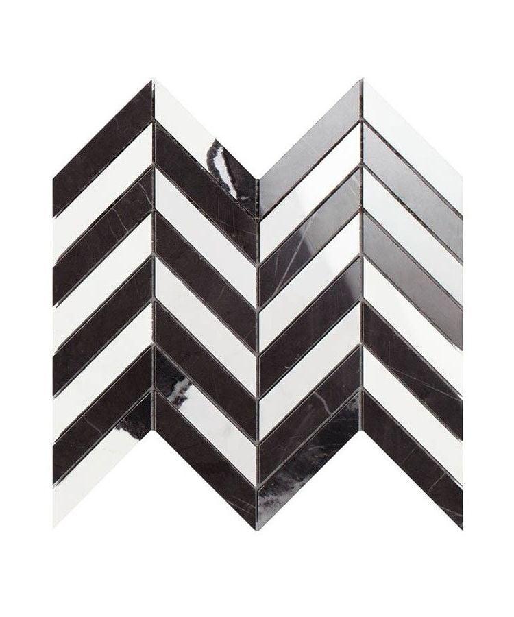 Mozaic pe plasa Mosaico Chevron Panda White Pietra Grey 26x30 cm
