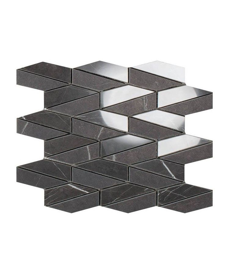 Mozaic pe plasa Mosaico Esagona Allungato Mix Pietra Grey26x30 cm