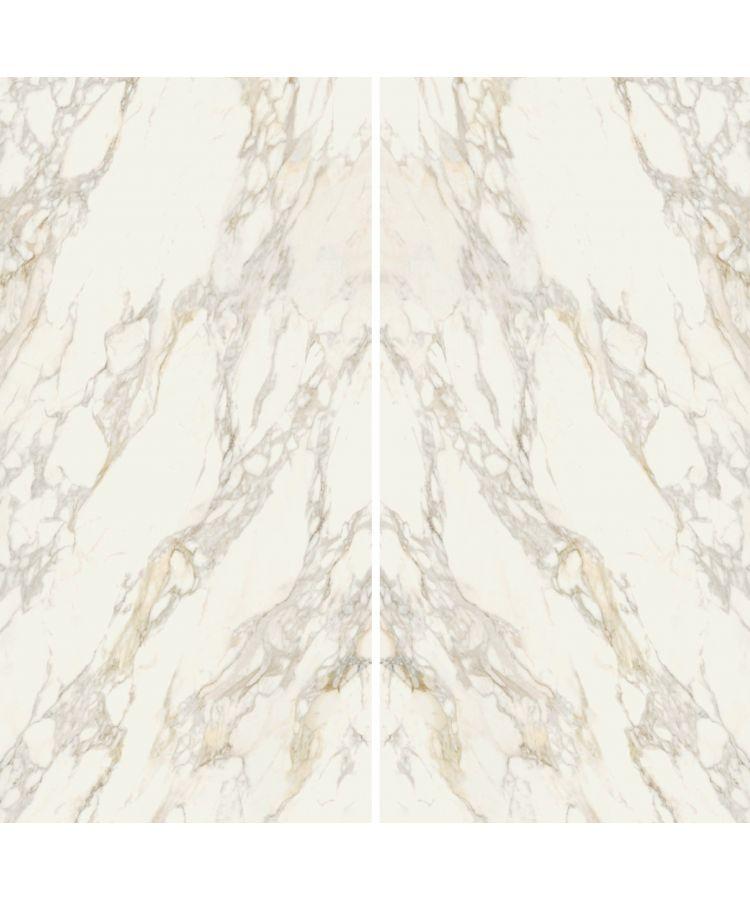 Set Gresie Calacatta Gold Lucios Macchia Aperta A B 160x320x0,6 cm Foto compusa din lastre A si B