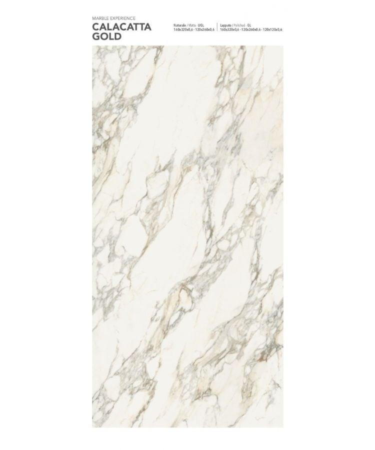 Gresie Calacatta Gold Lucios 160x320x0,6 cm