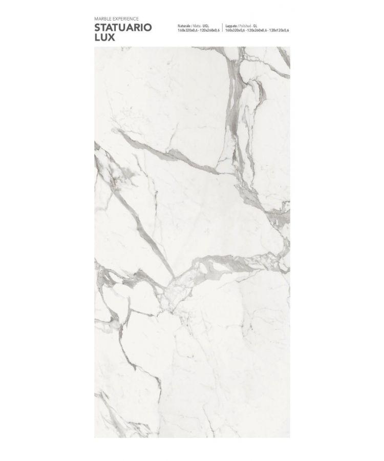 Gresie Statuario Lux mat 160x320x0,6 cm