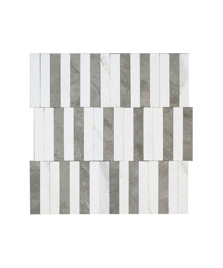 Mozaic pe plasa Statuario Lux Stripe 27.2x29 cm