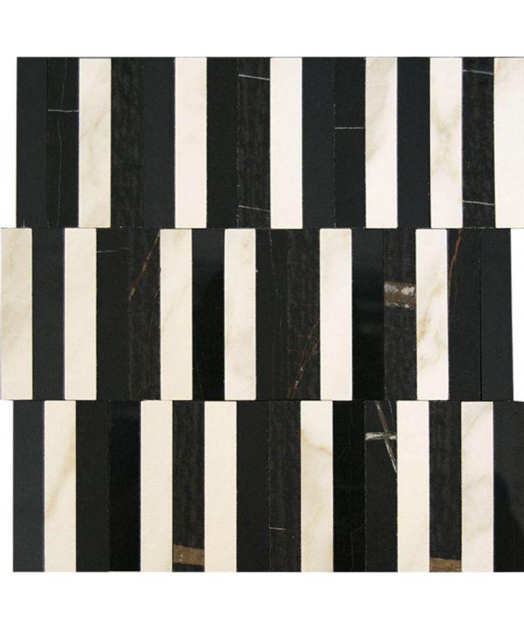 Mozaic pe plasa Sahara Noir Stripe 27.2x29 cm