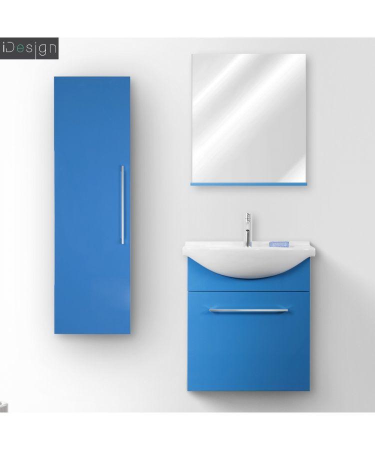 Mobilier de baie suspendat 60 cm Silky culoare albastru lucios cu coloana