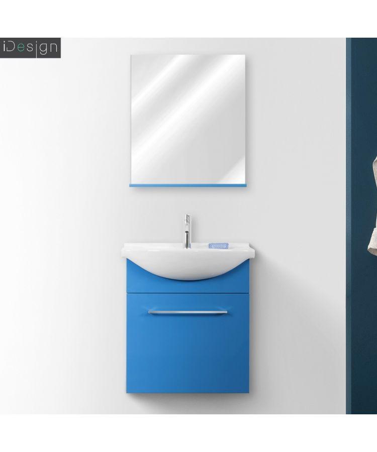 Mobilier de baie suspendat 60 cm Silky culoare albastru lucios