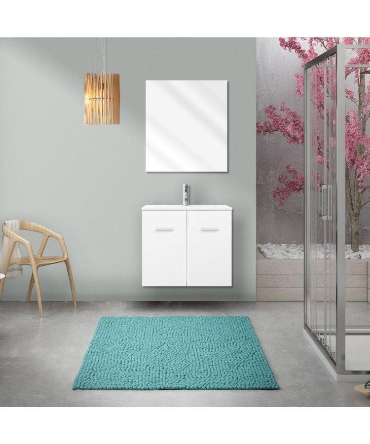 Mobilier de baie suspendat Laundry 60 cm alb lucios