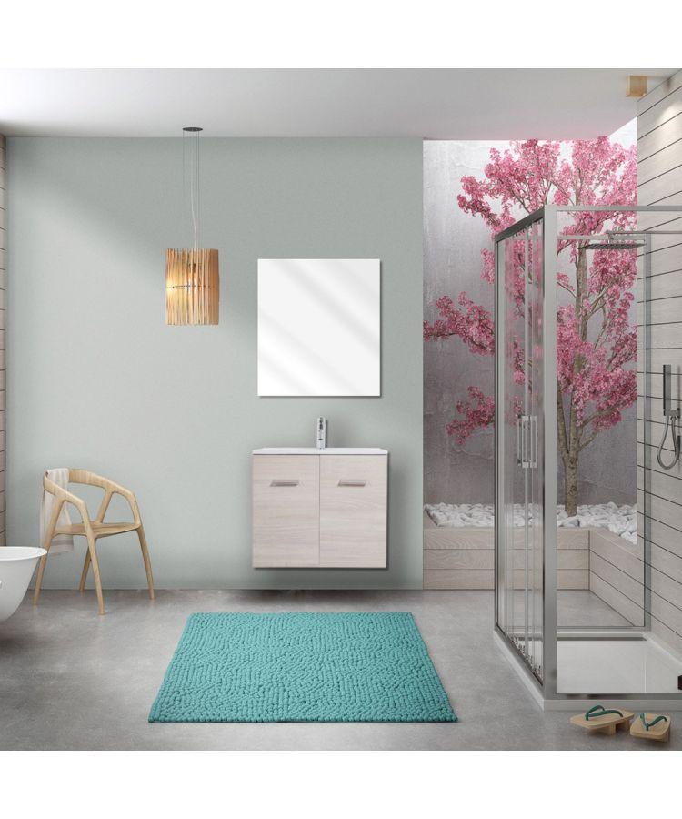 Mobilier de baie suspendat Laundry 60 cm culoare imitatie stejar gri