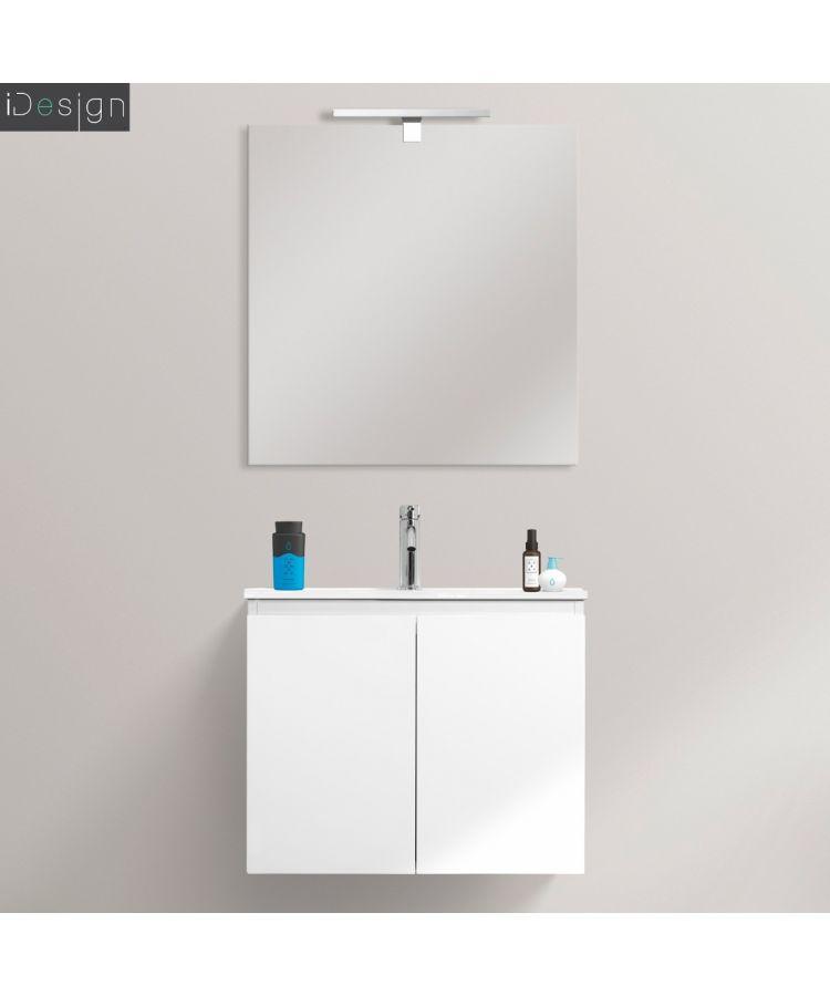Mobilier de baie suspendat Spazio 60 cm alb lucios