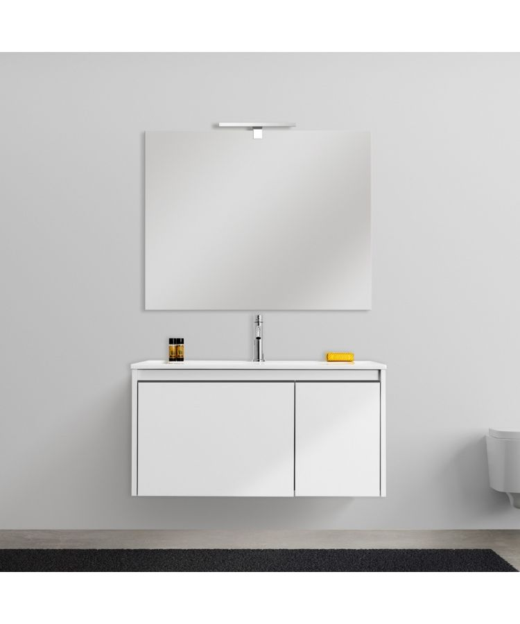 Mobilier Baie Suspendat Edith cu Lavoar si Oglinda-100 cm-Bianco opaco