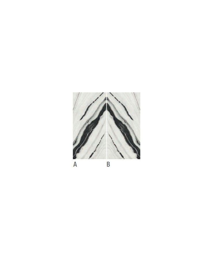 Gresie Panda White Lucios Macchia Aperta B 160x320x0,6 cm Fotografie compusa din 2 lastre, A si B