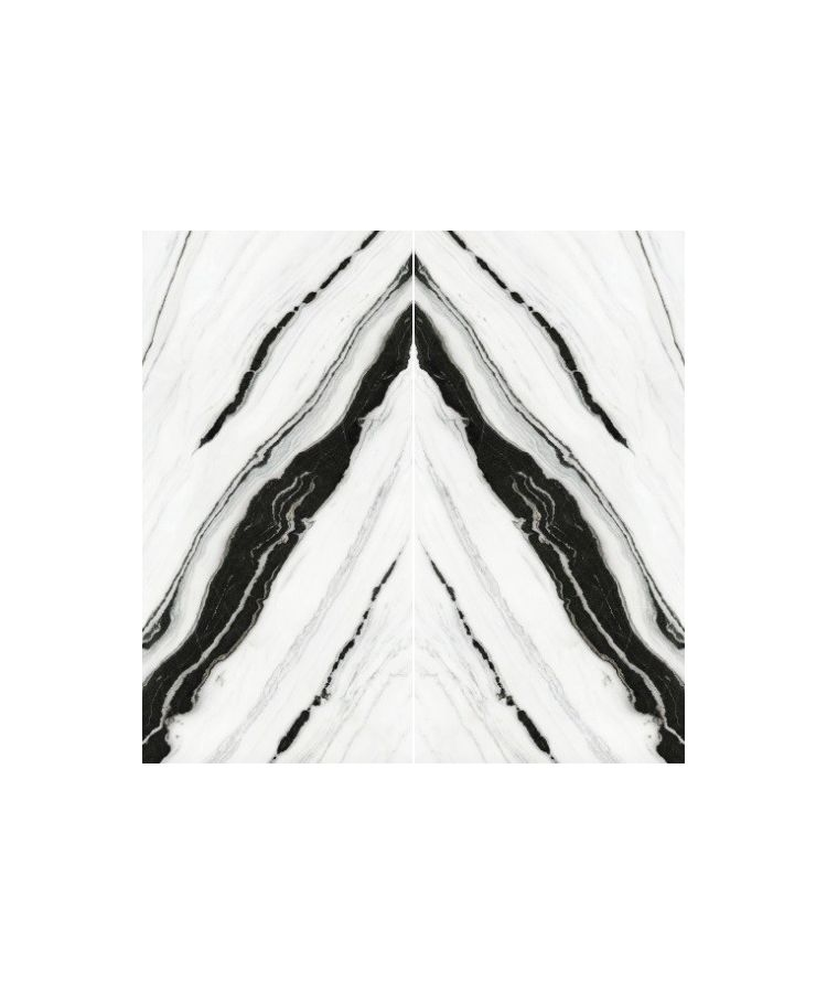 Set Gresie Panda White Lucios Macchia Aperta  A B 160x320x0,6 cm