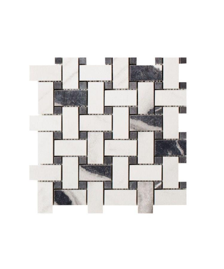 Mozaic pe plasa Basketwave Panda White 30x30 cm