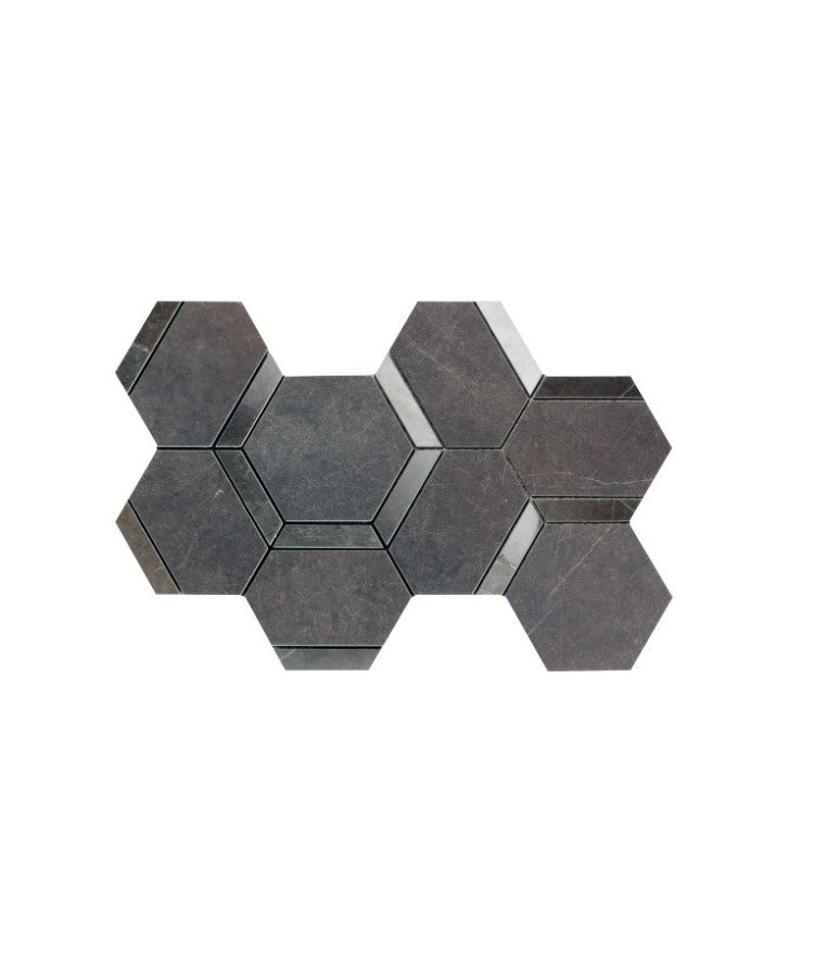 Mozaic pe plasa Esagona Decoro Pietra Grey Mix  20x34 cm
