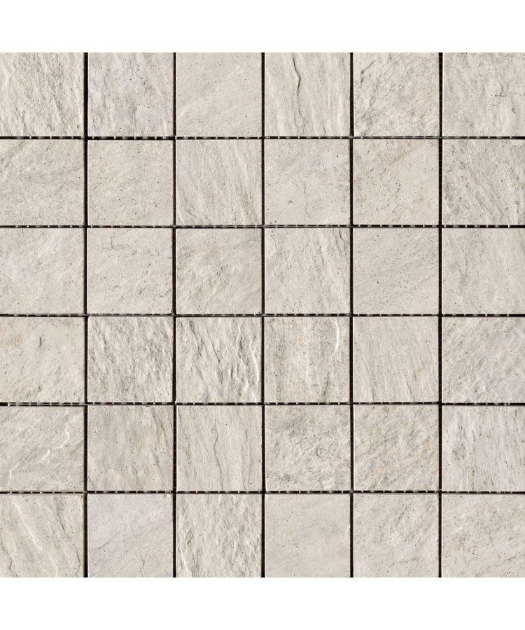 Mozaic pe plasa Stone D Mosaico A Quarzite Bianca 30x30 cm